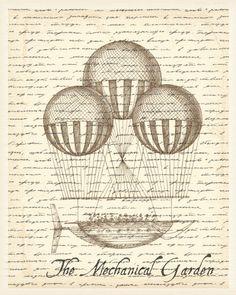Three Balloons Hot Air Balloon Steam Punk Print