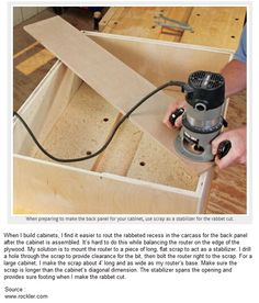 How to Stabilize a Router on a Rabbeted Recess When Building a Cabinet