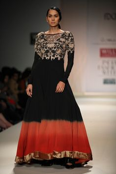 A model walk the ramp showcasing designer Anand Kabra's creation at Wills Lifestyle India Fashion Week Autumn Winter