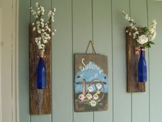 wall hanging wine bottle flower vase sconces barn wood rustic by:-countrybarn weddings