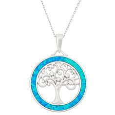 Fashion Bug Jewelry: Sterling Silver Tree of Life Created Opal Circle Pendant with 18 Chain www.fashionbug.us #PlusSize #FashionBug #Pendant #Necklace