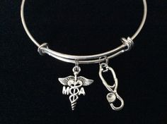 Medical Assistant Silver Charm Bangle Bracelet Expandable and Adjustable to of one size fits All
