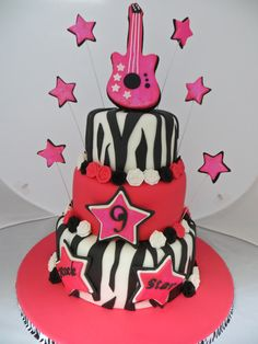 """""""Rock Star"""" birthday cake for a spunky 9 year old girl."""