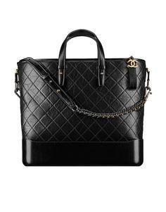 CHANEL GABRIELLE Shopping bag, couro de novilho envelhecido e macio, metal prateado & metal dourado-preto - CHANEL