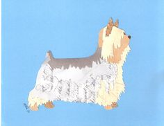 Silky Terrier original hecho a mano corte arte de por CanineCutUps Silky Terrier, Yorkshire Terrier, Dog Art, Terriers, Yorkie, Paper Cutting, Collage, The Originals, Pattern