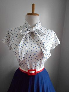 Sexy Vintage 1950s 1960s Light Blue and White by bluebarnvintage