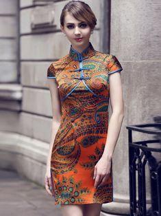 Orange Mulberry Silk Qipao / Cheongsam Dress in Folk Pattern