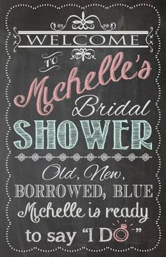 Shabby Chic Vintage Chalkboard Welcome Sign Bridal or Baby Shower Wedding Birthday Digital