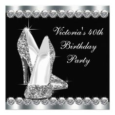 Womans Elegant Black 40th Birthday Party Invitations 65% OFF cards and Invitations! through 3/25/14 use code SPRINGSFLING