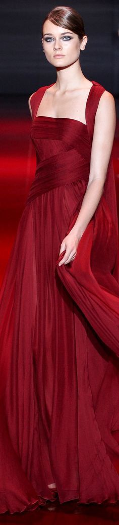 Elie Saab ~ Scarlet Evening Gown 2015
