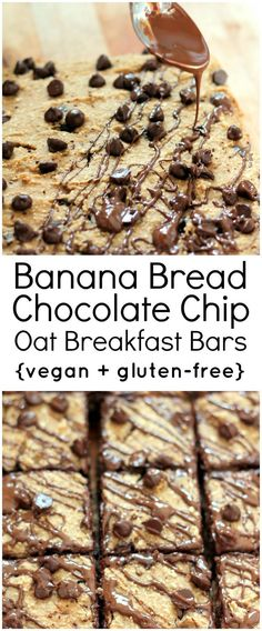 gluten free banana oatmeal breakfast bars that taste like just like banana bread. Easy to make and even easier to eat!Healthy, gluten free banana oatmeal breakfast bars that taste like just like banana bread. Easy to make and even easier to eat! Gluten Free Breakfasts, Gluten Free Desserts, Vegan Desserts, Vegan Gluten Free, Gluten Free Recipes, Dairy Free, Nut Free, Healthy Banana Bread, Chocolate Chip Banana Bread