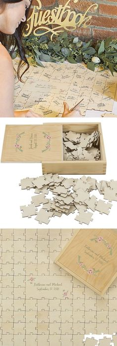 Guest Book Alternative Idea - Set a wooden wedding puzzle on the reception receiving table. Guests sign a jigsaw puzzle piece or pieces as they enter the reception hall and mingle for a fun, unique and interactive wedding signature keepsake that can be di