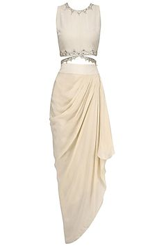 Beige embroidered crop top and cape with drape skirt available only at Pernia's Pop Up Shop. Indian Gowns Dresses, Pakistani Bridal Dresses, Indian Fashion Dresses, Indian Outfits, Indian Attire, Indian Clothes, Fashion Outfits, Beautiful Dresses For Women, Unique Dresses