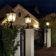Classic outdoor lights by Norlys Outdoor Garden Lighting, Outdoor Decor, Tree Support, Real Fire, Lighting Solutions, Lighting Ideas, Fence Design, Exterior Lighting, Garden Gates