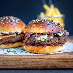 Blue Cheese Burgers On Brioche Buns With Crispy Pancetta & Onion Chutney