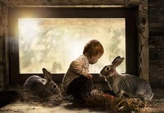 Boy with two rabbits. Click on photo to see more from Russian photographer and mother Elena Shumilova.