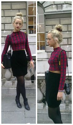 Tartan is a key trend for A/W '13, worn in the way of Hattie makes her overall look reminiscent of the grunge/punk era. #tartan #fashion #grunge #punk
