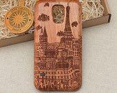 French Vintage Style Custom Design ''Paris'' Natural Cherry Wood Phone Case iPhone 4 4s 5 5s 5c 6 plus