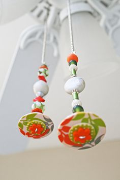 TWO Light Pulls/Ceiling Fan Pull/Green,White,Orange/Polymer Clay & Glass Bead/Home Living/Home Decor/Funktini/Colorful Ceiling Light Pull