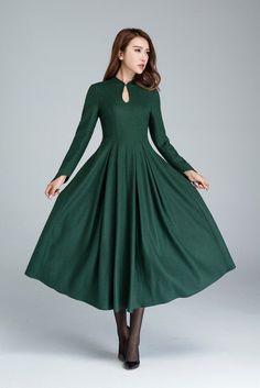 green wool dress, elegant dress,prom dress, party dress, maxi dress, retro dress, mandarin collar dress, ladies dresses, fitted waist 1621