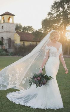 Courtesy of Essense of Australia wedding dresses; Wedding Dress with Lace Sleeves and V-Neck by Essense of Australia Lace Wedding Dress With Sleeves, Long Sleeve Wedding, Fall Wedding Dresses, Wedding Dress Styles, Bridal Dresses, Dresses With Sleeves, Lace Sleeves, Long Dresses, Wedding Skirt