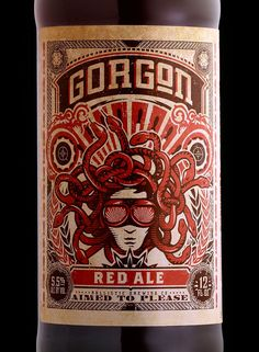 Close-up of Gorgon Red Ale on the Dieline. Beer packaging design by Stranger & Stranger