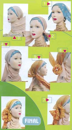 I love how they put this blue piece of lace under the Hijab. I also LOVE how they tie the peach scarf. I could use these on my fuzzy bald chemo head. :)