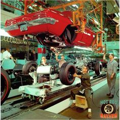 """Pontiac assembly line - 1969 Firebird, when Pontiac was an actual """"Division"""" before 1979 when Corporate-Contamination took over and made it just a re-badged Camaro,,, killing the Firebird in GMC:Gov't Motor Company -- Took the money and ran. 1969 Firebird, Pontiac Firebird Trans Am, General Motors, Buick, Super Pictures, Automobile, Pontiac Cars, Pontiac Lemans, Assembly Line"""