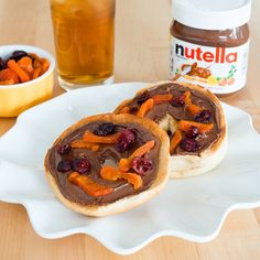 Bump up a boring bagel with a schmear of Nutella® and sprinkle of dried fruit.