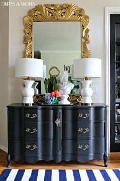 Summer Home Tour  ||  Colorful Entry  ||  Foyer Styling  ||  French Provincial Dresser  ||  Large Gold Mirror  ||  Bust  ||  Blue and White  ||   Navy and White Striped Rug