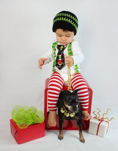 Baby Boy Tie Onesie or Shirt with Suspenders and Crocheted Hat  - Dr. Suess Grinch Christmas Holiday  - Size NB to 12 YRS