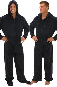Men's Footed Pajamas,Hooded,One Piece Pajamas with Zip-off Feet