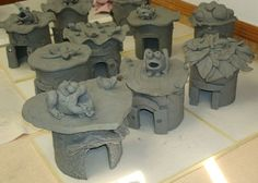 Earthenware Toad Abodes drying out