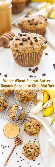 Whole Wheat Peanut Butter Banana Chocolate Chip Muffins | These 100% Whole Wheat Peanut Butter, Banana, Chocolate Chip muffins are 100% delicious!