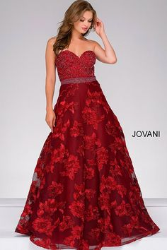 Burgundy ballgown with sweetheart neckline and floral skirt. e76a8c91158e