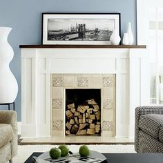 fireplace diy- white and wood