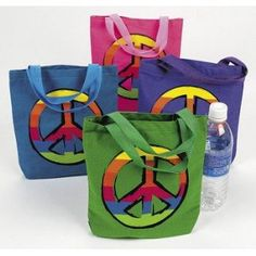 Brand New Canvas PEACE SIGN Tote bags. They measure tall x wide and have coordinating nylon handles These are a nice size for taking a sandwich and drink to work and would also be great as Party Favor Goody Bags. Peace sign is on one side only. Hippie Birthday, Hippie Party, Party Favor Bags, Goodie Bags, Peace Sign Birthday, Holiday Party Themes, Party Ideas, Theme Ideas, Gift Ideas