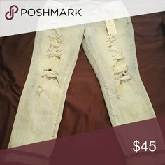 Jeans Light wash distressed skinny jeans - stretch, slight high waist. Has store tags! torrid Jeans Skinny