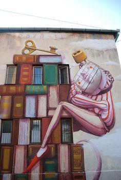 "September 2015 ""Free Your Mind"", a mural by in Sibiu, Romania Street Mural, Street Art Graffiti, Installation Street Art, Street Artists, Graffiti Artists, Best Street Art, Building Art, Sibiu Romania, Art Mural"