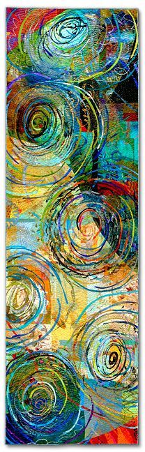 Walking through Time III, Nest Blue. : dye and paint on fabric (silk, cotton, polyester, commercial and found fabrics), fused, mono-printed, machine quilted. Artist: Sue Benner