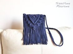 macrame bag crochet navy dark blue jean fringes boho bohemian etsy cotton gift for her woman women mother& day christmas Boho Hippie, Boho Gypsy, Bag Crochet, Crochet Purses, Cotton Crochet, Gifts For Women, Gifts For Her, Fringe Handbags, Cotton Gifts