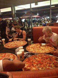"Finish the song, ""MichaEL WANTS ANOTHER SLICE, MICHAEL WANTS ANOTHER SLICE, MICHAEL WANTS ANOTHER SLICE! OMG! LOOK AT ALL OF THE PEOPLE STARING AT THEM WHILE THEY EAT FREAKING PIZZA! Lol! What am I saying? I would do the same thing!"