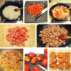 Recipe Box: Stuffed Bell Peppers.  Could be made with regular sausage or veggie sausage/ground beef.  Yum!