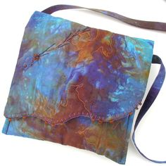 Hand dyed Cross Body Purse Purple Turquoise Rust by KathyKinsella, $54.00
