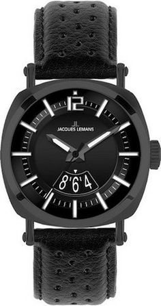 Jacques Lemans 1-1740E Mens Watch Ion Plated Stainless Steel Black Leather Strap