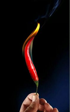 Photo editing ....more hot when red chilli ended with yellow flame