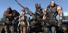 Borderlands playable characters, left to right, Roland (soldier) Lilith (Stealth) Mordecai (sniper) and Brick (Beserker).
