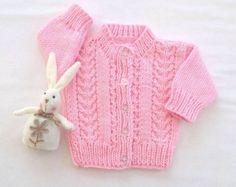 Bebé niña suéter - 0 a 6 meses - bebé rosa Rebeca - géneros de punto del bebé - bebé regalos