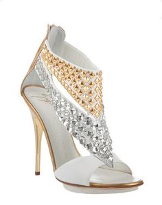 Giuseppe Zanotti White and Gold Studded Sandals