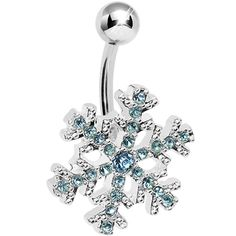 Product Details Crystal ice aquamarine blue gem encrusted snowflake belly button ring is a flurry of fashion. Fixed snowflake on a curved 14 gauge surgical stee Belly Button Piercing Jewelry, Navel Piercing, Cute Piercings, Body Piercings, Cute Belly Rings, Belly Button Rings, Cute Jewelry, Body Jewelry, Jewellery